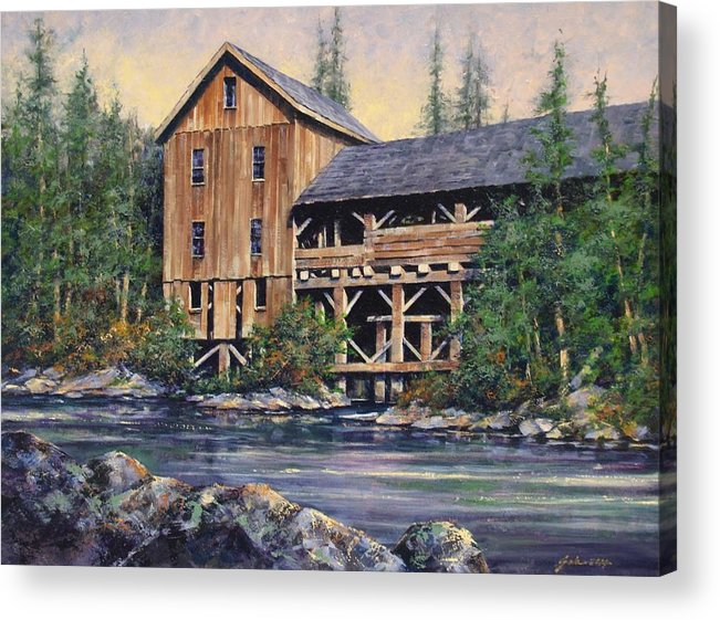 Grist Mills Acrylic Print featuring the painting Lewisville Grist Mill Afternoon by Jim Gola