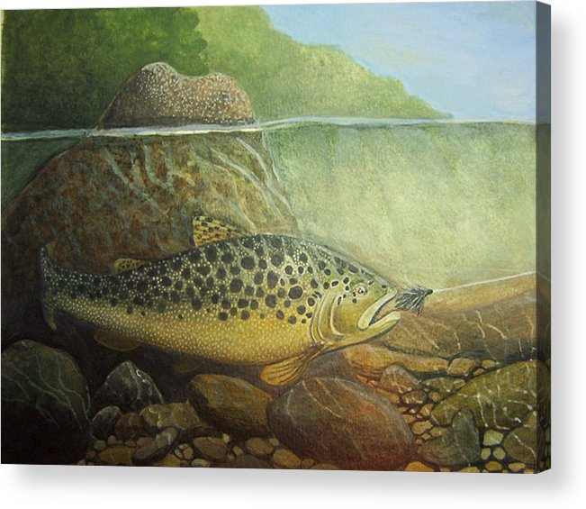 Rick Huotari Acrylic Print featuring the painting Lurking by Rick Huotari