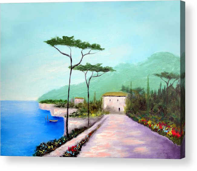 Lake Como Acrylic Print featuring the painting Memories Of Lake Como by Larry Cirigliano