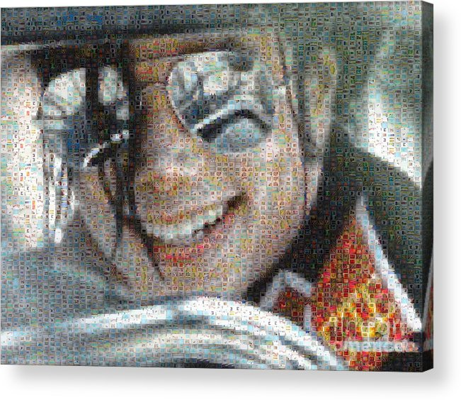 Michael Acrylic Print featuring the digital art Michael Jackson - Mosaic by Paulette B Wright