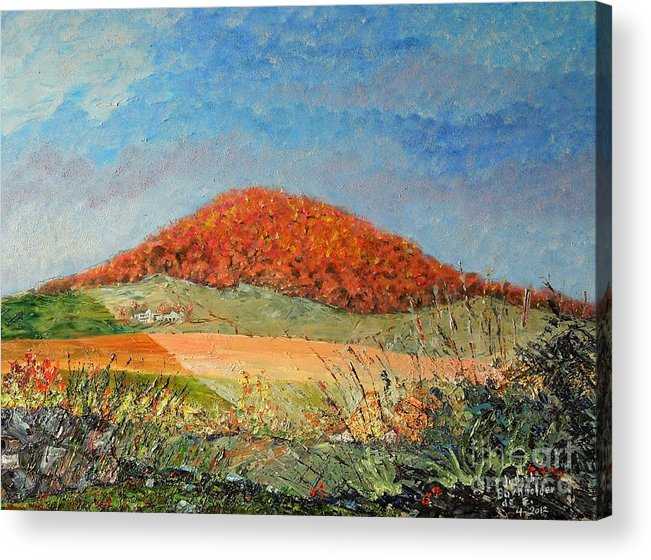 Blue Acrylic Print featuring the painting Mole Hill Flaunting Autumn- SOLD by Judith Espinoza