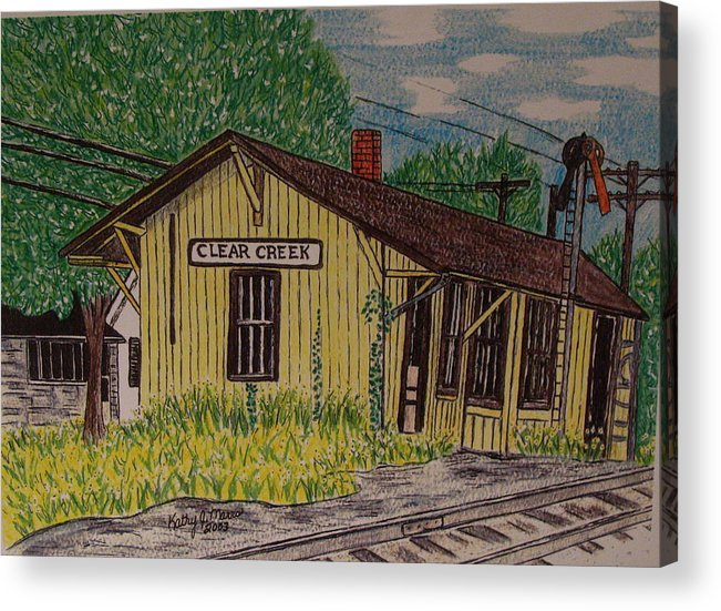 Monon. Monon Train Acrylic Print featuring the painting Monon Clear Creek Indiana Train Depot by Kathy Marrs Chandler