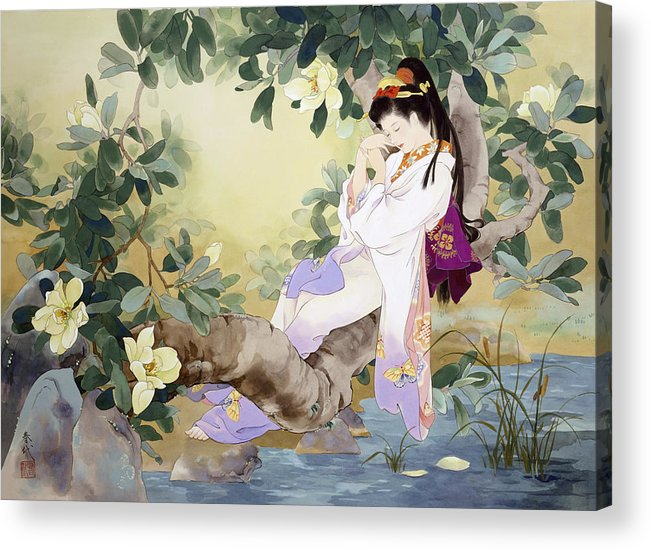 Haruyo Morita Acrylic Print featuring the digital art Nemuri No Otome by MGL Meiklejohn Graphics Licensing
