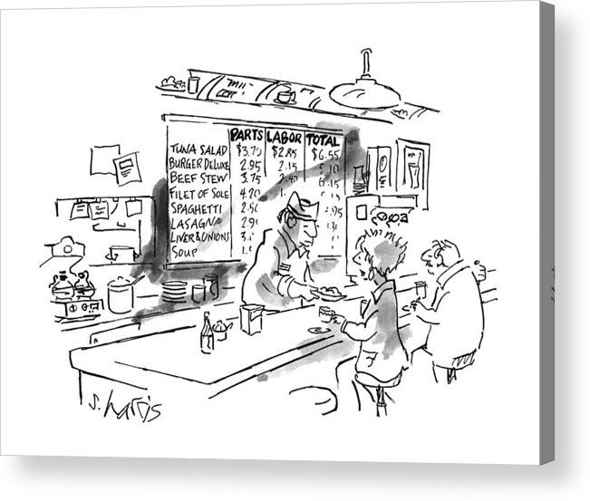 No Caption Items On Wall Menu Behind Diner Counter Are Divided Into Three Categories: Parts Acrylic Print featuring the drawing New Yorker August 21st, 1995 by Sidney Harris