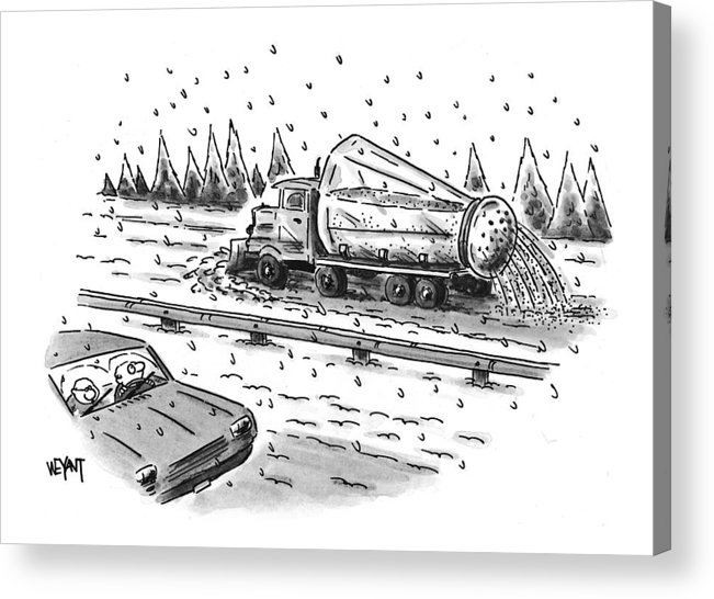 Winter Acrylic Print featuring the drawing New Yorker February 22nd, 1999 by Christopher Weyant