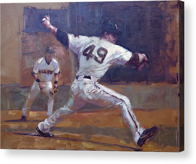 Javier Lopez Acrylic Print featuring the painting Night Train by Darren Kerr