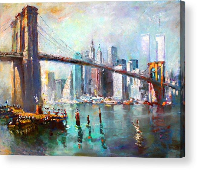 Nyc Acrylic Print featuring the painting NY City Brooklyn Bridge II by Ylli Haruni
