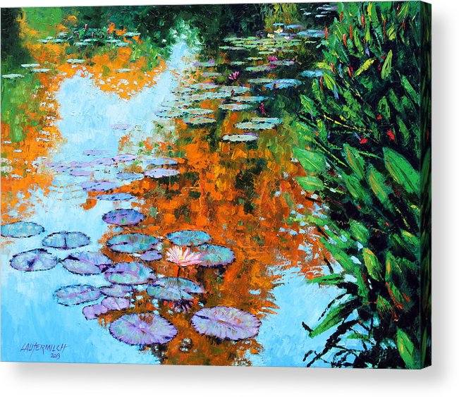 Garden Pond Acrylic Print featuring the painting Passing Season by John Lautermilch