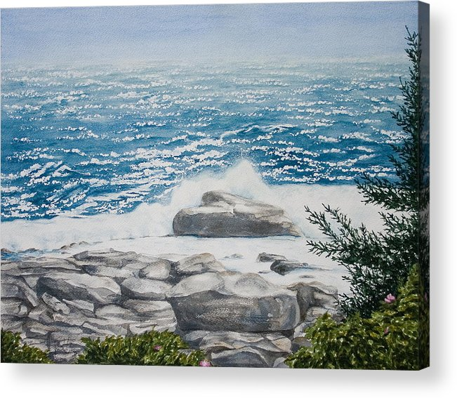 Seascape Acrylic Print featuring the painting Pemaquid Point by Monika Degan