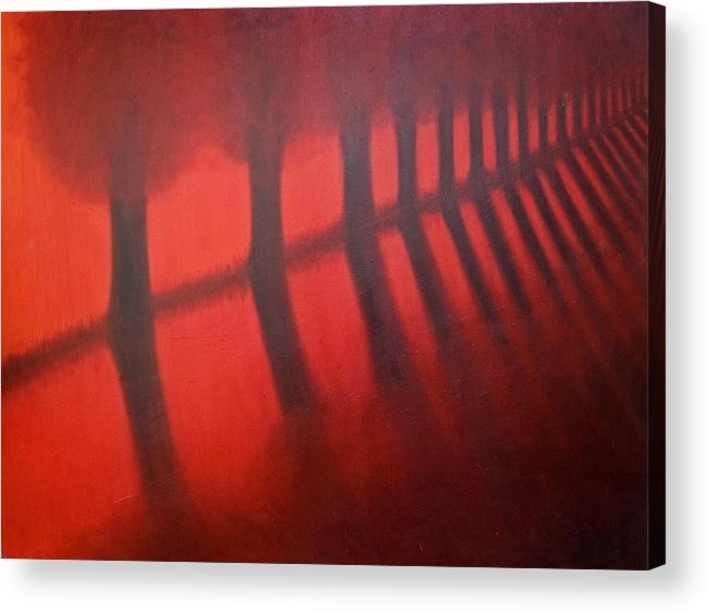Landscape Acrylic Print featuring the painting Red Trees by Stephen Degan