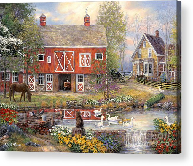 Americana Acrylic Print featuring the painting Reflections on Country Living by Chuck Pinson