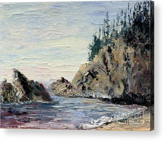 Seascape Acrylic Print featuring the painting Rocky Shore by Lynne Parker