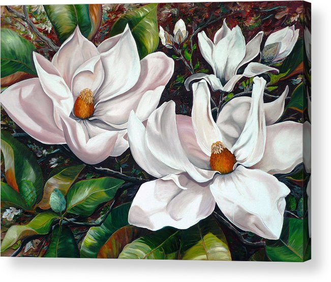 Magnolia Painting Flower Painting Botanical Painting Floral Painting Botanical Bloom Magnolia Flower White Flower Greeting Card Painting Acrylic Print featuring the painting Scent Of The South. by Karin Dawn Kelshall- Best