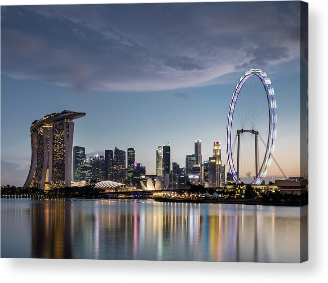 Built Structure Acrylic Print featuring the photograph Singapore Skyline At Dusk by Martin Puddy