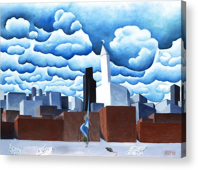 Oil Acrylic Print featuring the painting St Heron breaker of barriers by Poul Costinsky