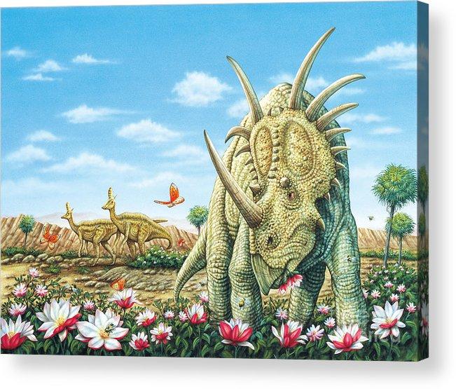 Dinosaurs Acrylic Print featuring the painting Styracosaurus eating Magnolias with Lambeosaurus by Phil Wilson