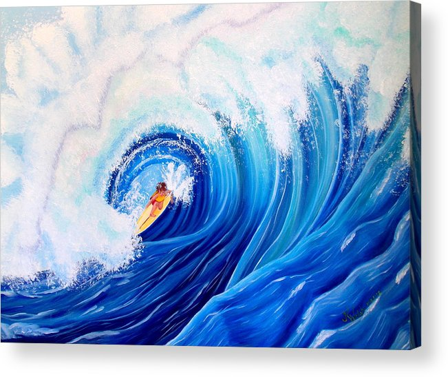 Wave Acrylic Print featuring the painting Surfing the Maverick Wave by Kathern Ware