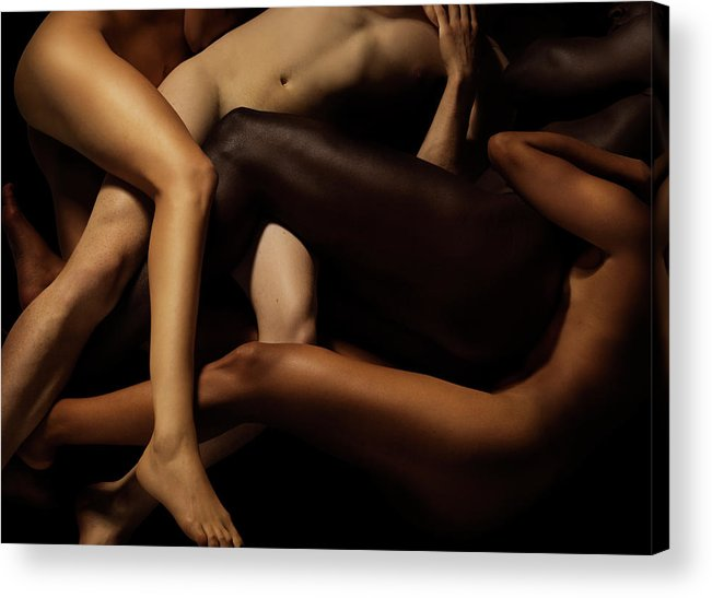 Young Men Acrylic Print featuring the photograph Tangled Human Bodies Of Different Skin by Jonathan Knowles