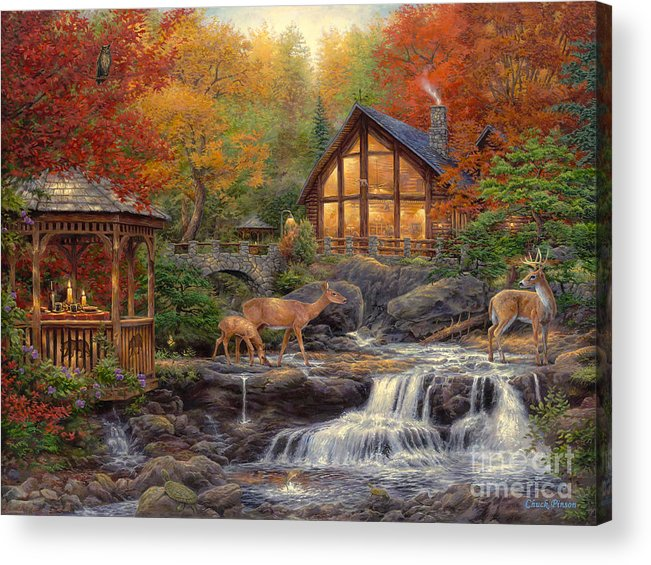 Cabin Acrylic Print featuring the painting The Colors of Life by Chuck Pinson