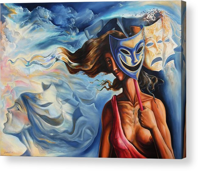 Surrealism Acrylic Print featuring the painting The path of Irony II by Darwin Leon