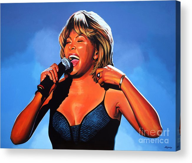 Tina Turner Acrylic Print featuring the painting Tina Turner Queen of Rock by Paul Meijering