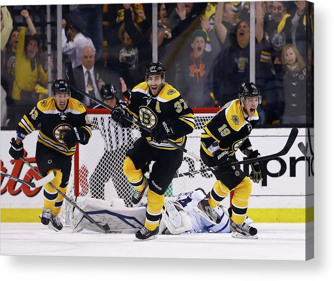 Following Acrylic Print featuring the photograph Toronto Maple Leafs V Boston Bruins - by Jared Wickerham