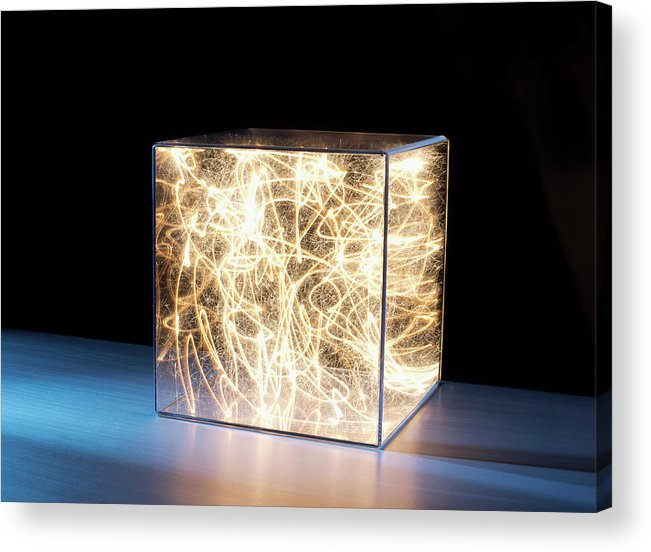Block Shape Acrylic Print featuring the photograph Trail Of Bright Light In Box by Pm Images