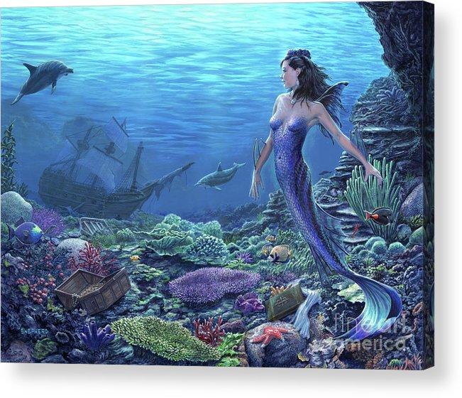 Mermaid Acrylic Print featuring the painting Treasure of the Sea by Stu Shepherd