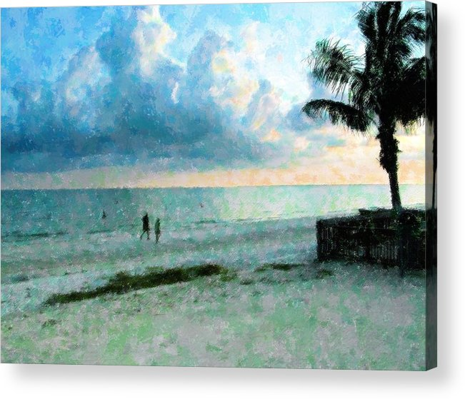 Sunset Acrylic Print featuring the mixed media Walk Under Blue by Florene Welebny