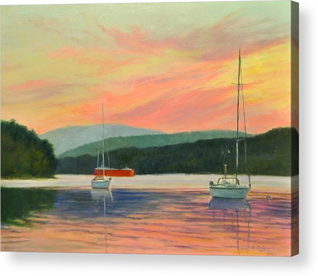 Oil Painting Acrylic Print featuring the painting Windswept Sky Hudson Highlands by Phyllis Tarlow