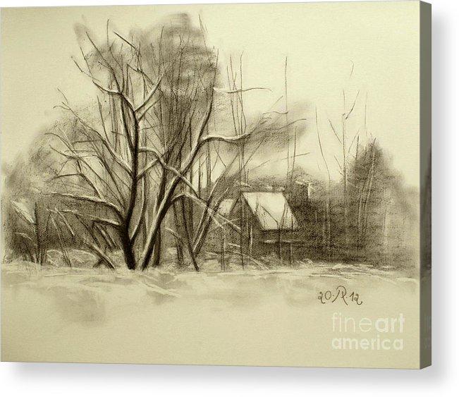 Landscape Acrylic Print featuring the drawing Winter by Raimonda Jatkeviciute-Kasparaviciene