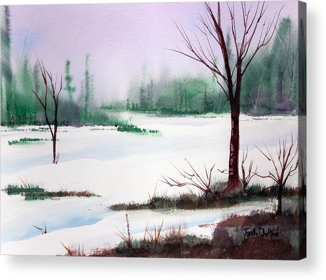 Snow Scene Acrylic Print featuring the painting A Cold One. by Josh Chilton