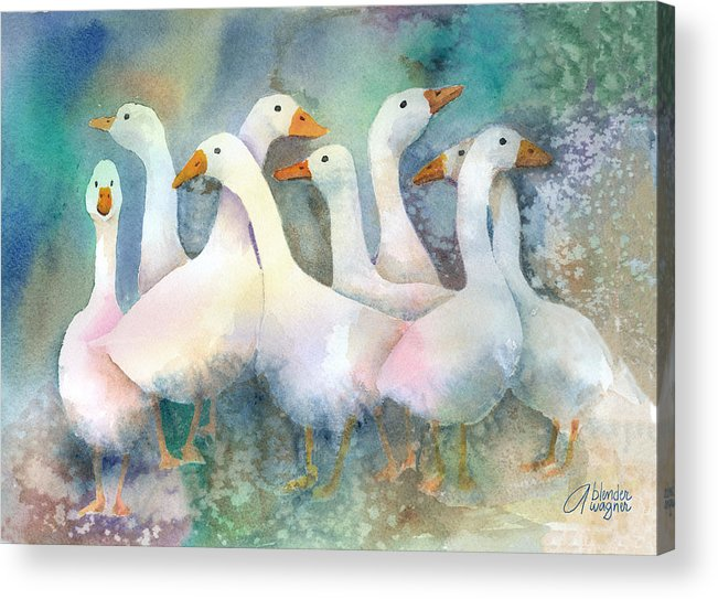 Goose Acrylic Print featuring the painting A Disorderly Group Of Geese by Arline Wagner