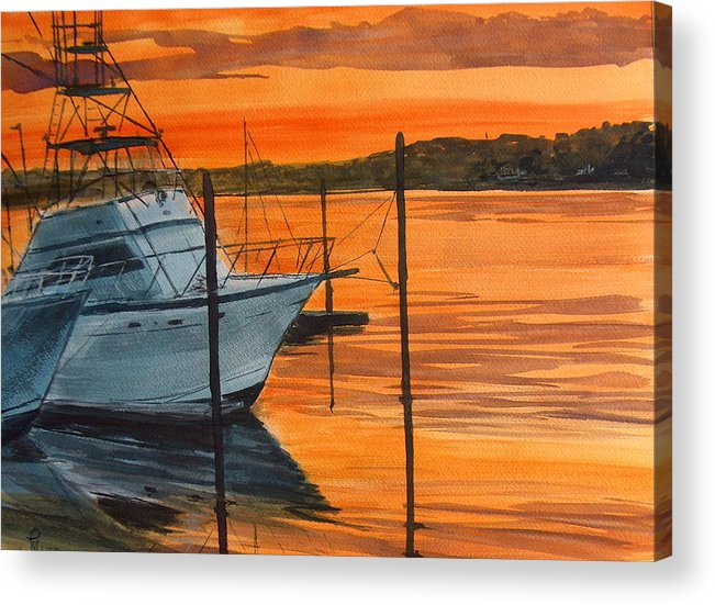 Sunset Acrylic Print featuring the painting Belmar Marina by Pete Maier