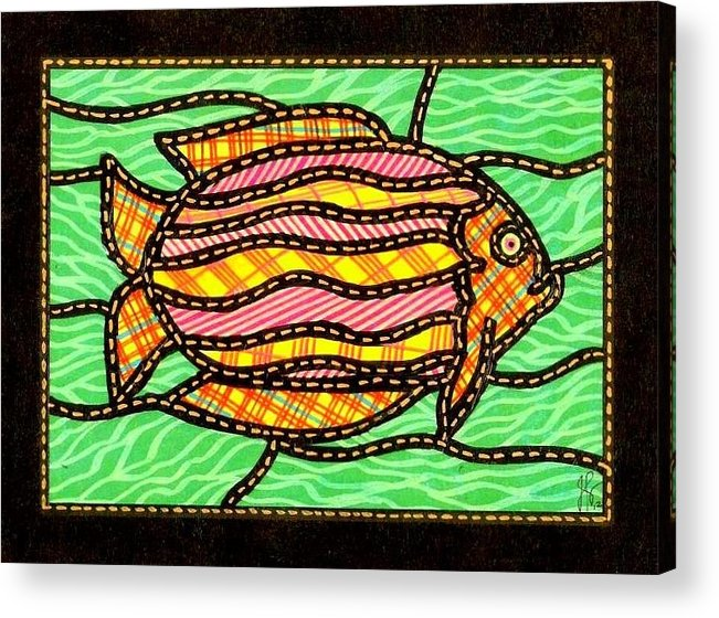 Fish Acrylic Print featuring the painting Colorful Quilted Fish Two by Jim Harris