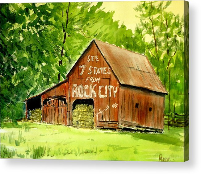 Barn Acrylic Print featuring the painting Rock City Barn by Pete Maier
