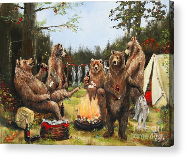 Nature Acrylic Print featuring the painting The Bear Party by Stella Violano