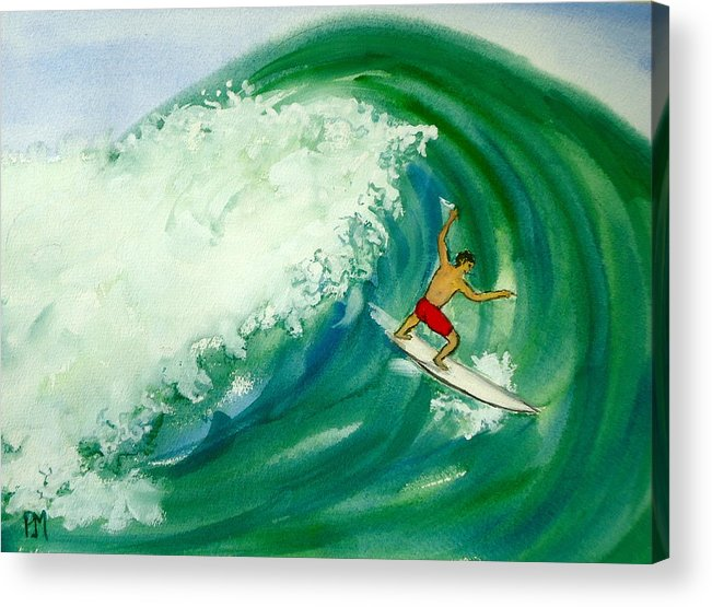 Surfing Acrylic Print featuring the painting The Curl by Pete Maier