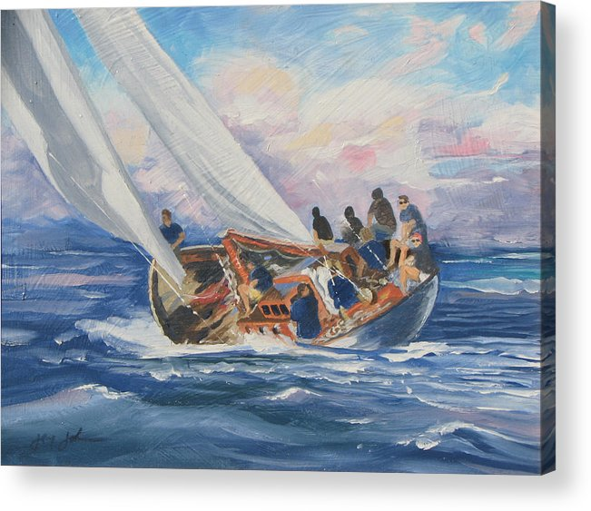 Seascape Boats Italy Acrylic Print featuring the painting Yacht Club by Jay Johnson