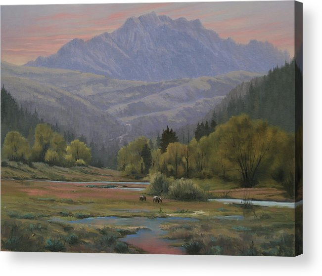 Landscape Acrylic Print featuring the painting 070815-1814  Evening Over Long Scraggy Mt. by Kenneth Shanika