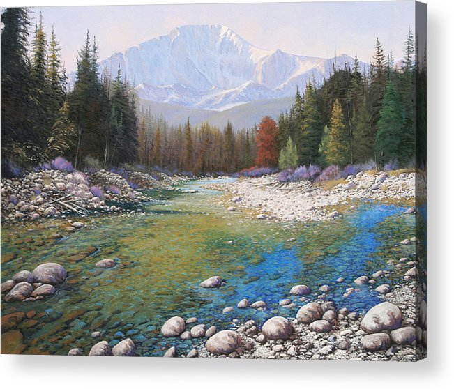 Landscape Acrylic Print featuring the painting 080401-4030 Shallow Waters - Pikes Peak by Kenneth Shanika