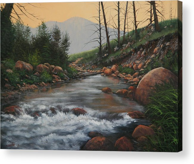 Original Oil Painting Acrylic Print featuring the painting 090430-1216  Trout Creek - Spring by Kenneth Shanika
