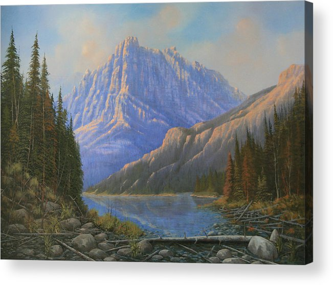 Landscape Acrylic Print featuring the painting 090523-3040  Between Heaven And Earth by Kenneth Shanika