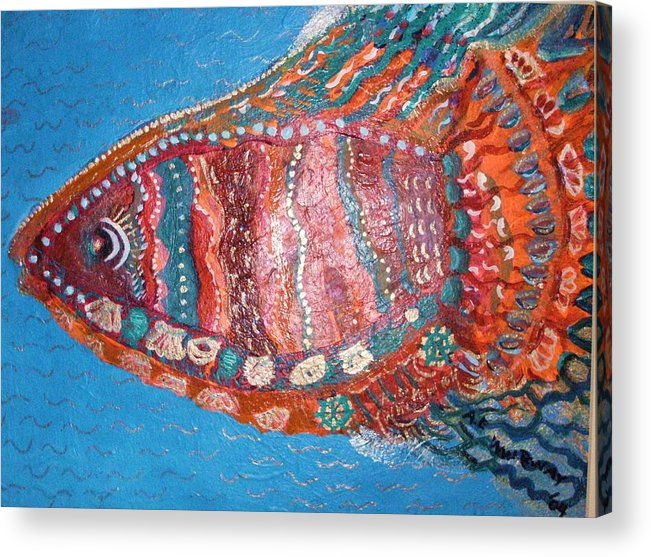 Fish Acrylic Print featuring the mixed media Barracuda Lite by Anne-Elizabeth Whiteway