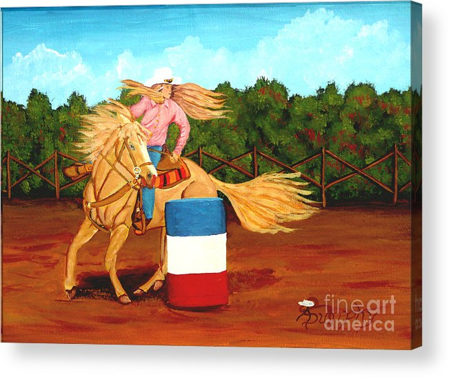 Rodeo Acrylic Print featuring the painting Barrel Racer by Anthony Dunphy