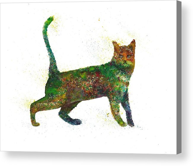 Cat Painting Acrylic Print featuring the painting Cat Fantasy by Natalja Picugina