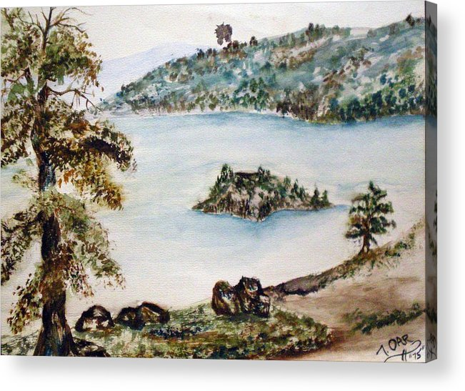 Ake Acrylic Print featuring the painting Emerald Bay Lake Tahoe by Tammera Malicki-Wong