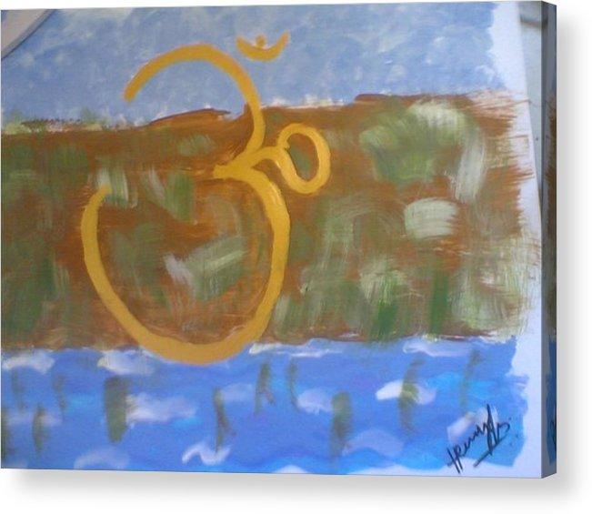 Omkar Acrylic Print featuring the painting Hds-universal Om by Hema V Gopaluni