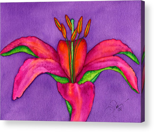 Red Lily Acrylic Print featuring the painting Neon Lily by Stephanie Jolley