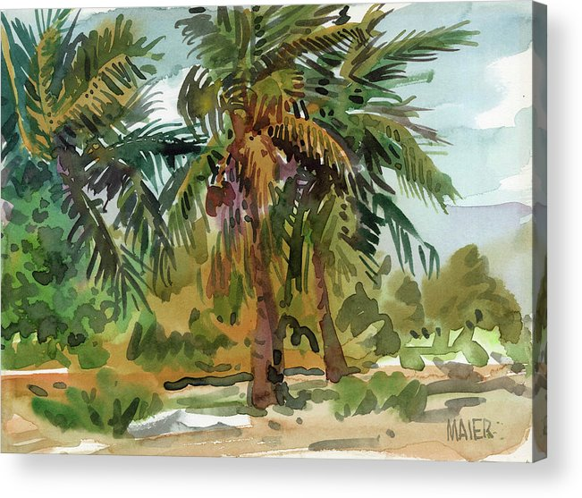 Key West Acrylic Print featuring the painting Palms in Key West by Donald Maier